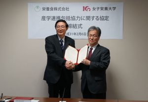 左:眞鍋卓史 代表取締役社長 右:香川明夫 学長